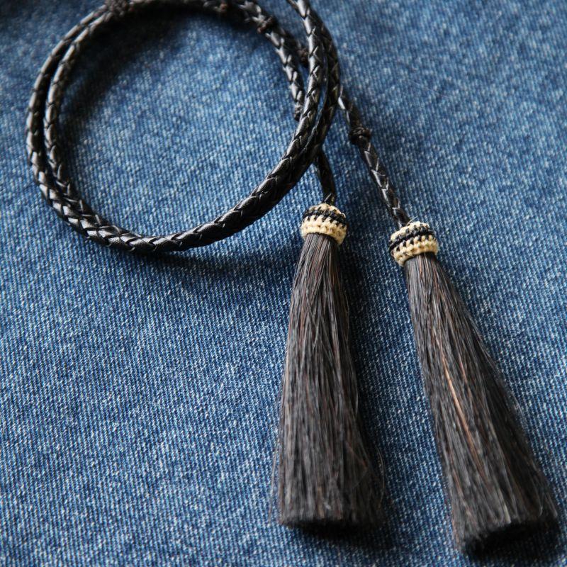 画像1: レザー ホースヘアー スタンピード ストリングス ブラック・ブラック(ハット用あごひも)/Leather w/horse Hair Stampede Strings