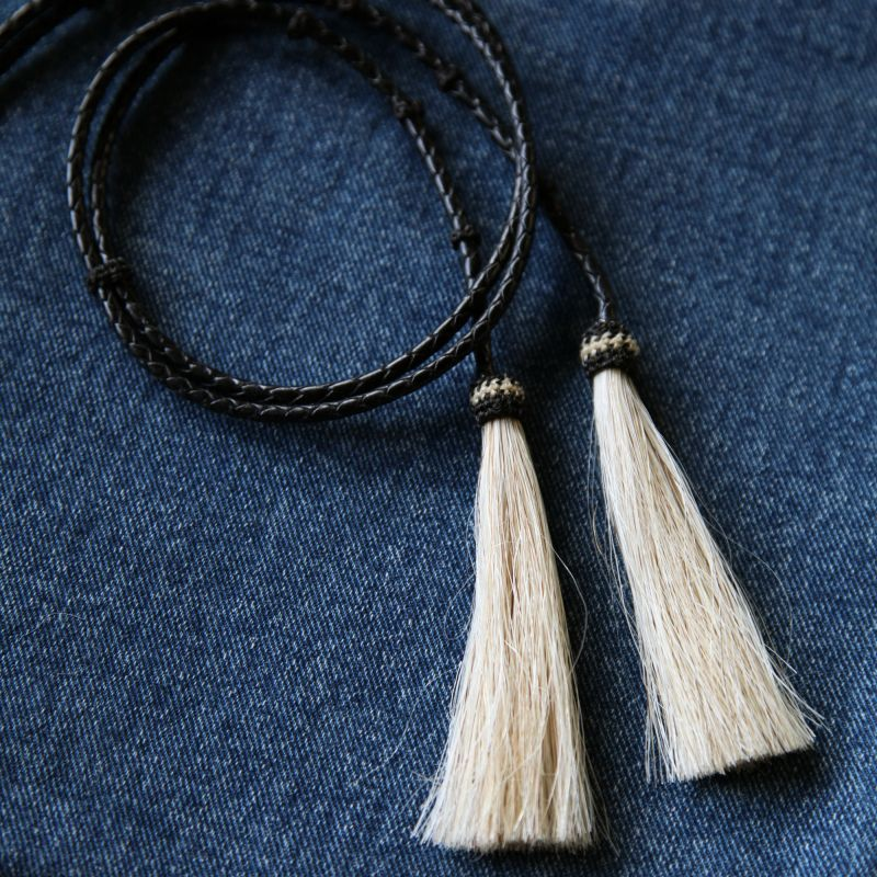 画像1: レザー ホースヘアー スタンピード ストリングス ブラック・ナチュラル(ハット用あごひも)/Leather w/horse Hair Stampede Strings (1)