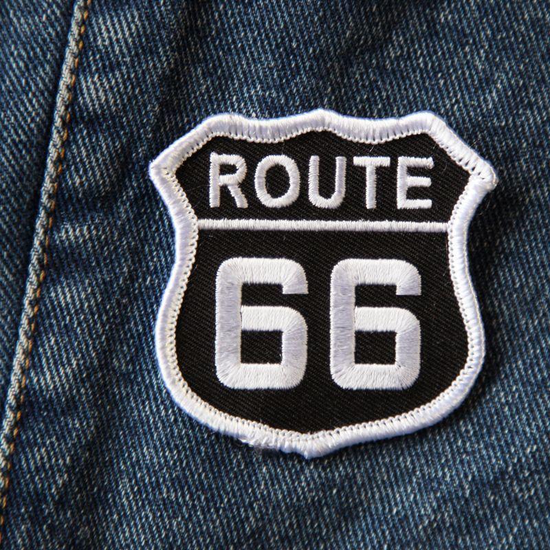 画像1: ワッペン ルート66 ブラック・ホワイト/Patch Route 66 (1)