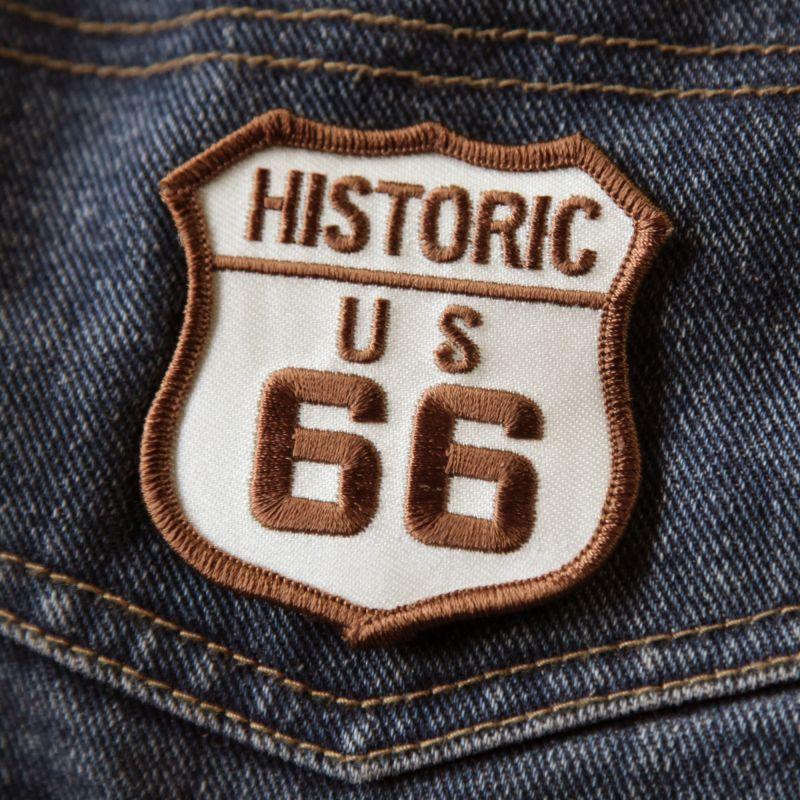 画像1: ワッペン ヒストリック ルート66 クリーム・ブラウン/Patch Route 66