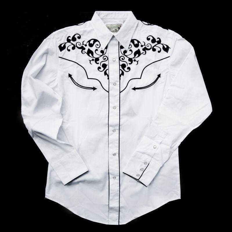 画像1: ウエスタン刺繍シャツ(長袖/ホワイト・ネイビー)/Long Sleeve Embroidered Western Shirt