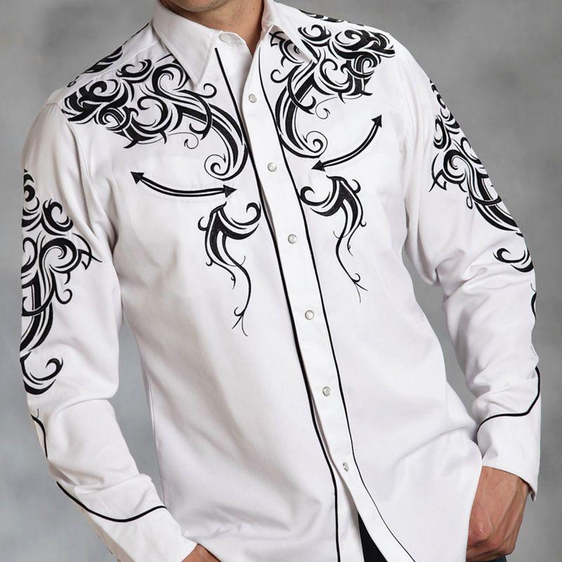 画像1: ウエスタン刺繍シャツ(長袖/ホワイト・ブラック)/Long Sleeve Embroidered Western Shirt