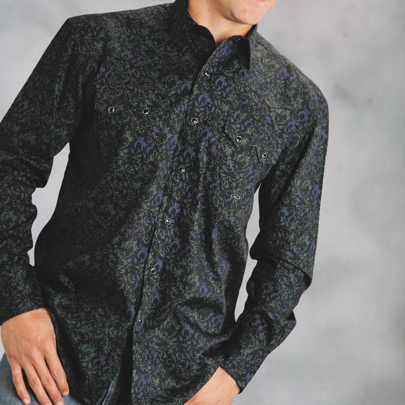 画像1: ウエスタンシャツ(ブラック・ヴァイン/長袖)/Long Sleeve Western Shirt(Black Vine)