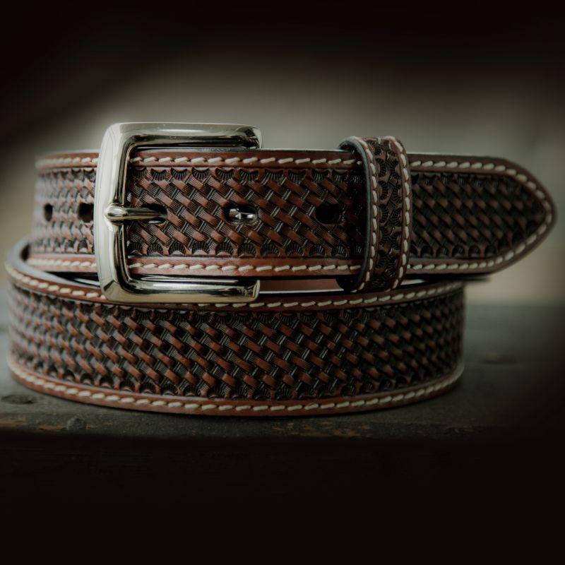 画像1: ウエスタン レザー ベルト ブラウン バスケット38/Leather Belt(Basket Brown) (1)