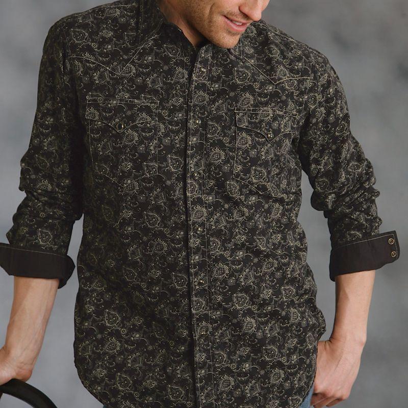 画像1: ウエスタンシャツ(ブラック・カーキ/長袖)/Long Sleeve Western Shirt(Black)