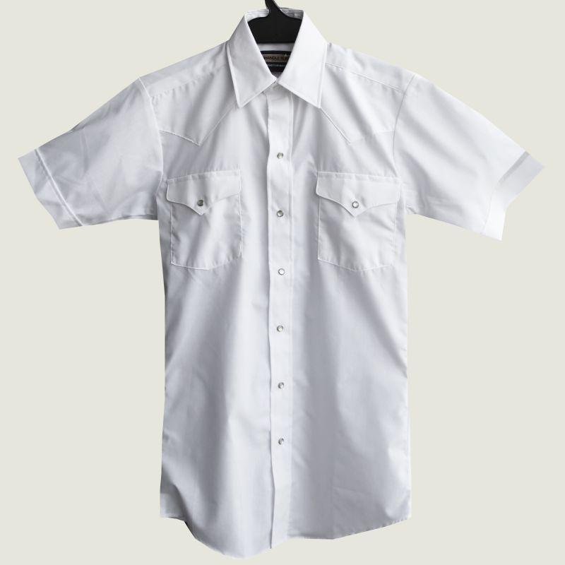画像1: パンハンドルスリム ウエスタンシャツ(ホワイト・無地/半袖)/Panhandle Slim Short  Sleeve Western Shirt (1)