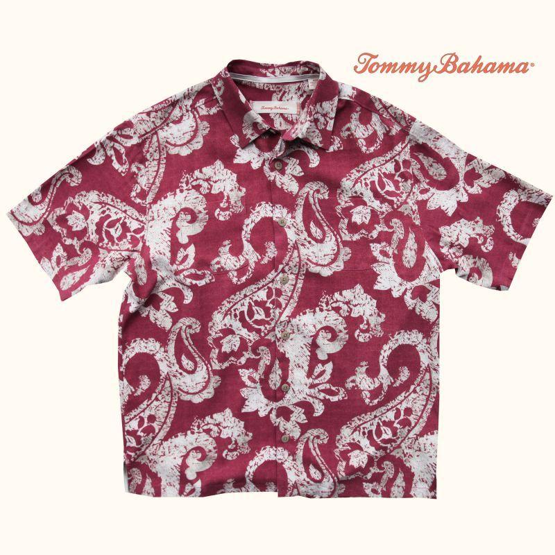 画像1: トミーバハマ  シルク リゾート シャツ チェリーワイン(半袖)M/Tommy Bahama Short Sleeve Shirt