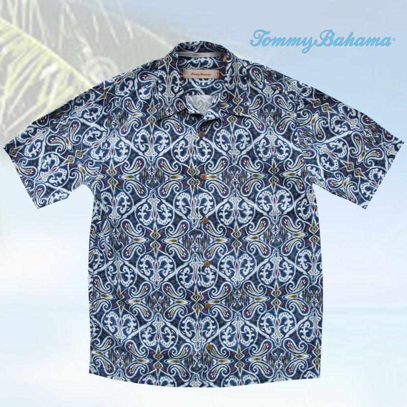 画像1: トミーバハマ  シルク リゾート シャツ ブルーハワイ(半袖)S/Tommy Bahama Short Sleeve Shirt