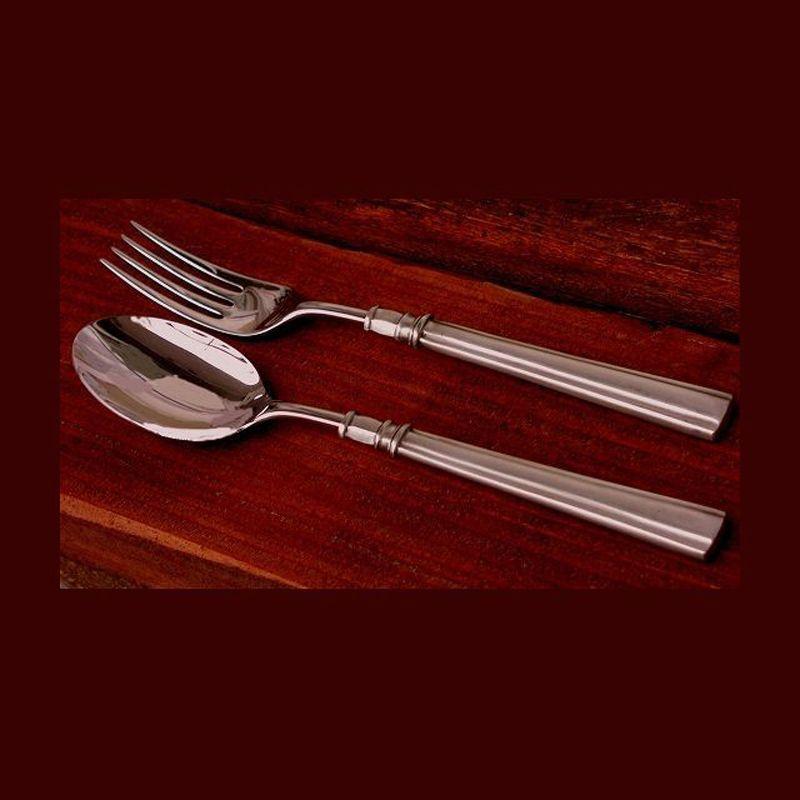 画像1: フォーク&スプーン/ Serving Fork&Spoon (Pewter) Made in Italy (1)