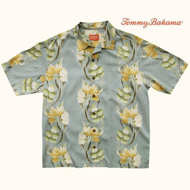 画像1: トミーバハマ シルク リゾート シャツ グレー(半袖)L/Tommy Bahama Short Sleeve Shirt