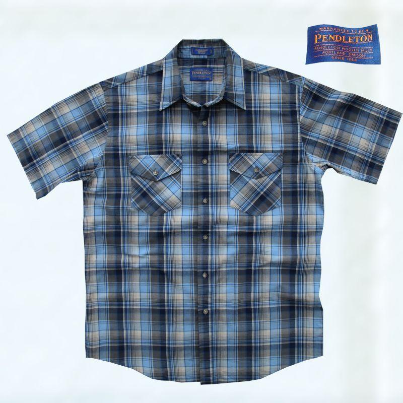 画像1: ペンドルトン 半袖 シャツ(ブルー)/Pendleton Short Sleeve Shirt