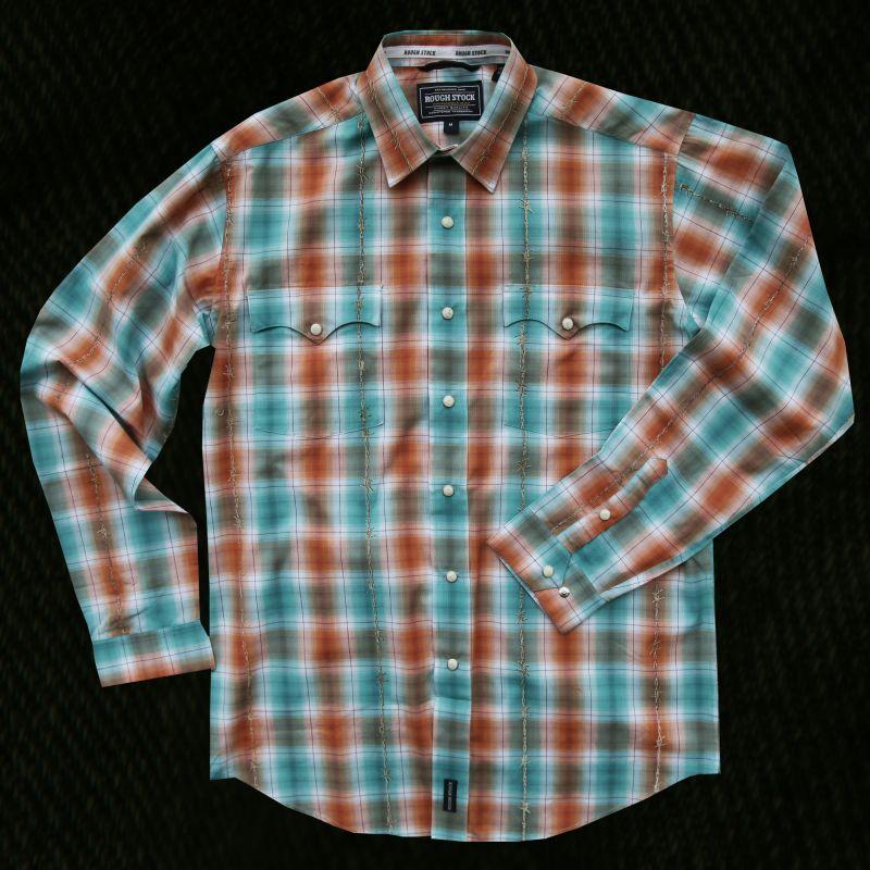 画像1: パンハンドルスリム ラフストック ウエスタンシャツ (ターコイズ・オレンジ/長袖)/Rough Stock Long Sleeve Western Shirt by Panhandle Slim(Turquoise・Orange)