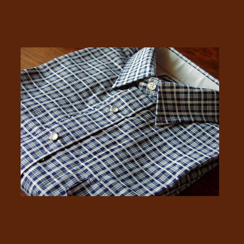 画像1: パンハンドルスリム ウエスタンシャツ・ブルーチェック(長袖)/Panhandle Slim Long Sleeve Western Shirt(Blue Plaid) (1)