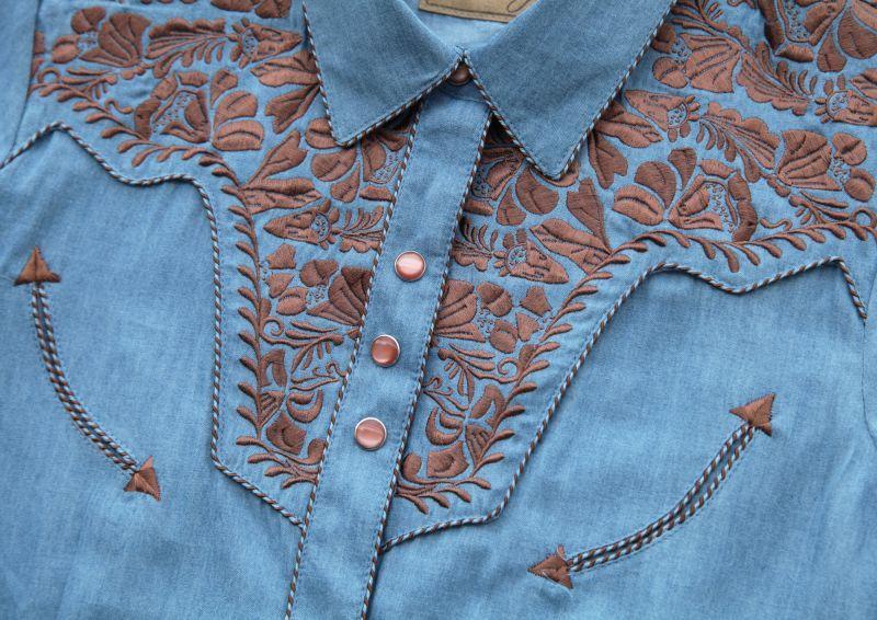 画像2: スカリー ウエスタン 刺繍 シャツ(キャップスリーブ/ライトブルー)/Scully Western Shirt(Women's)