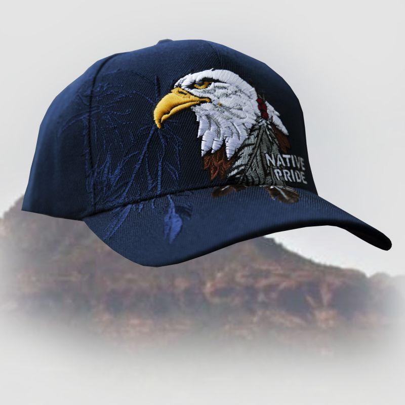 画像1: ネイティブプライド 刺繍キャップ・イーグル&フェザー ネイビー/Native Pride Cap Eagle&Feather (1)