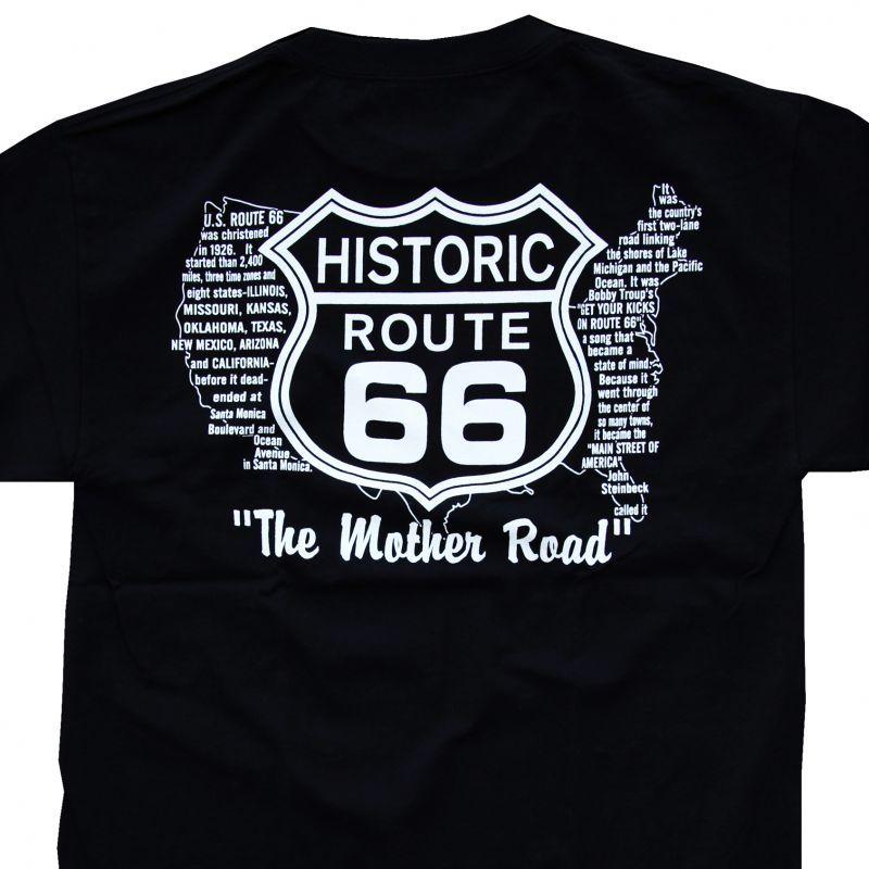 画像1: ルート66 半袖Tシャツ(ブラック ホワイト)/Historic Route66 T-shirt  (1)