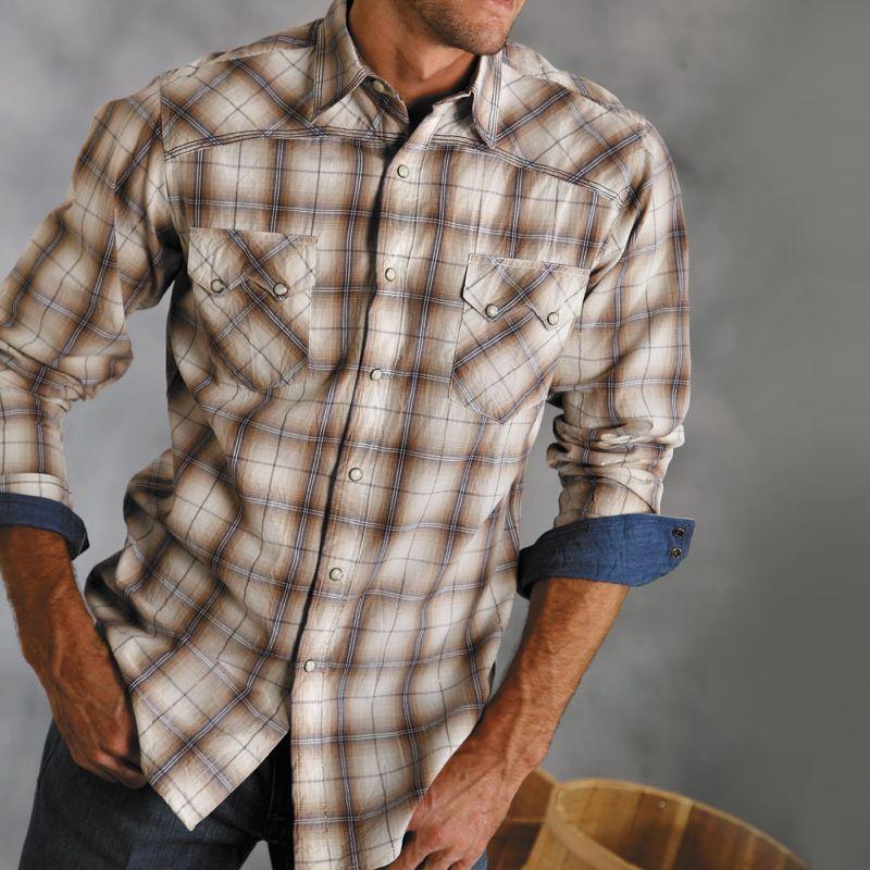 画像2: ウエスタン刺繍シャツ(長袖/ブラウン・ネイビー)/Long Sleeve Embroidered Western Shirt