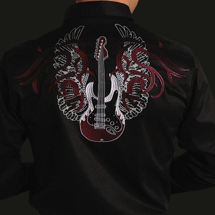 画像1: ギター 刺繍 ウエスタンシャツ ブラック(長袖)/Long Sleeve Embroidered Shirts(Black)