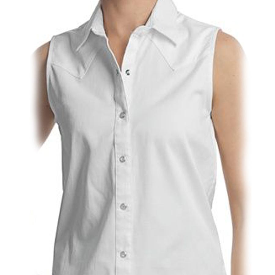 画像1: パンハンドルスリム ウエスタン シャツ ホワイト ノースリーブS/Panhandle Slim Western Shirt(Women's)