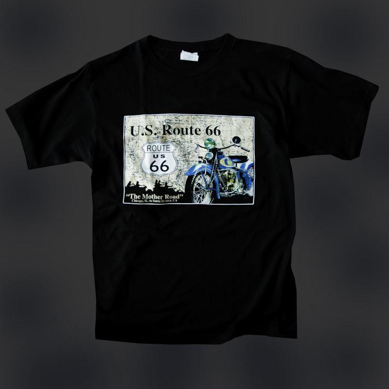 画像1: ルート66 半袖Tシャツ The Mother Road(ブラック)/U.S.Route66 T-shirt