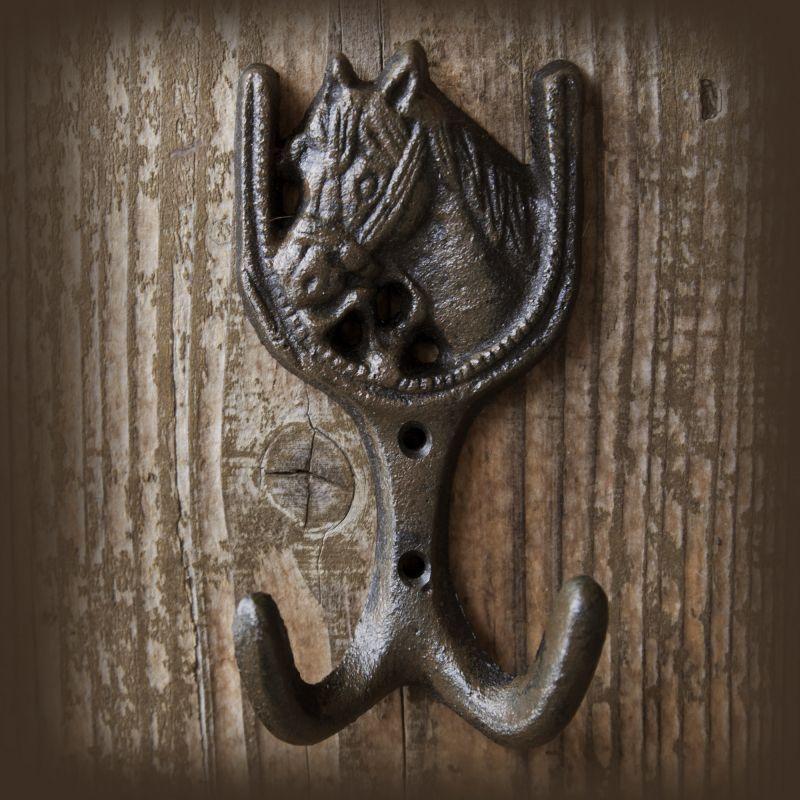 画像1: アイアン ダブルフック ホース /Iron Horse Head Double Hook