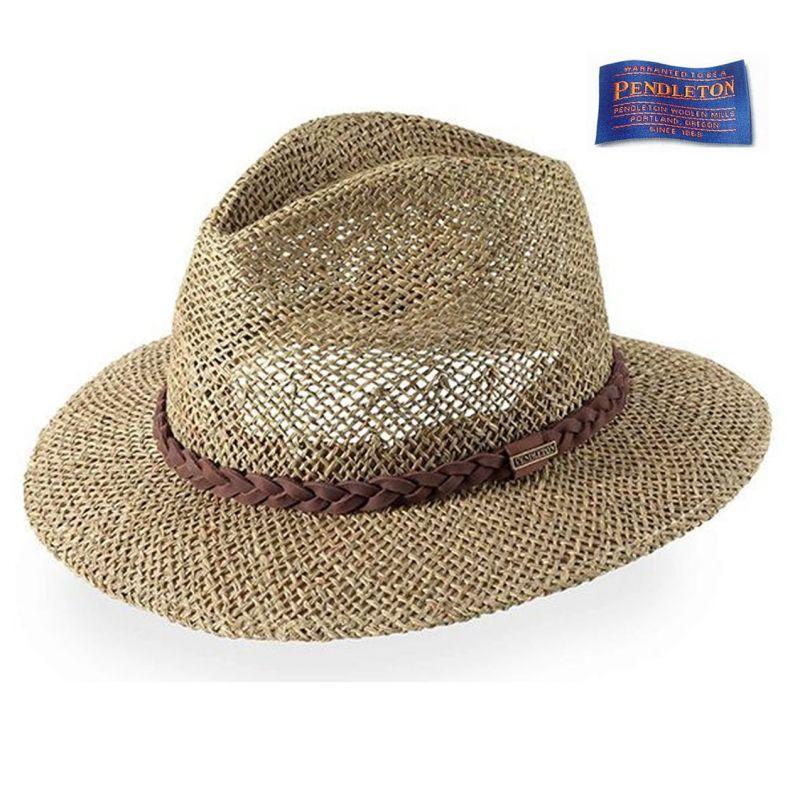 画像1: ペンドルトン フェドラ ストローハット/Pendleton Raised Tip Straw Hat