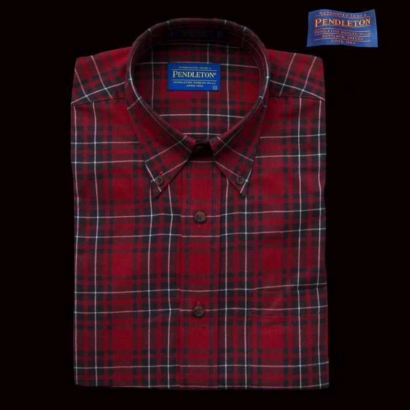 画像1: ペンドルトン コットン・ウール ボタンダウンシャツ(長袖 レッド・ブラウン)/Pendleton Button-Down Shirt (1)