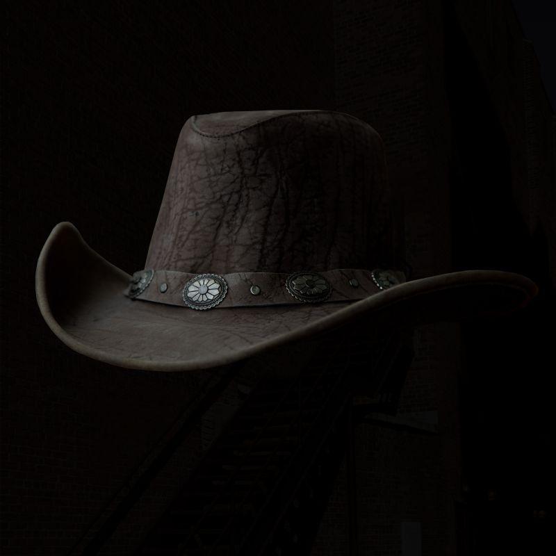 画像1: レザー製 アメリカン コンチョ ハット(マッシュルーム)/Leather Concho Hat(Mushroom) (1)