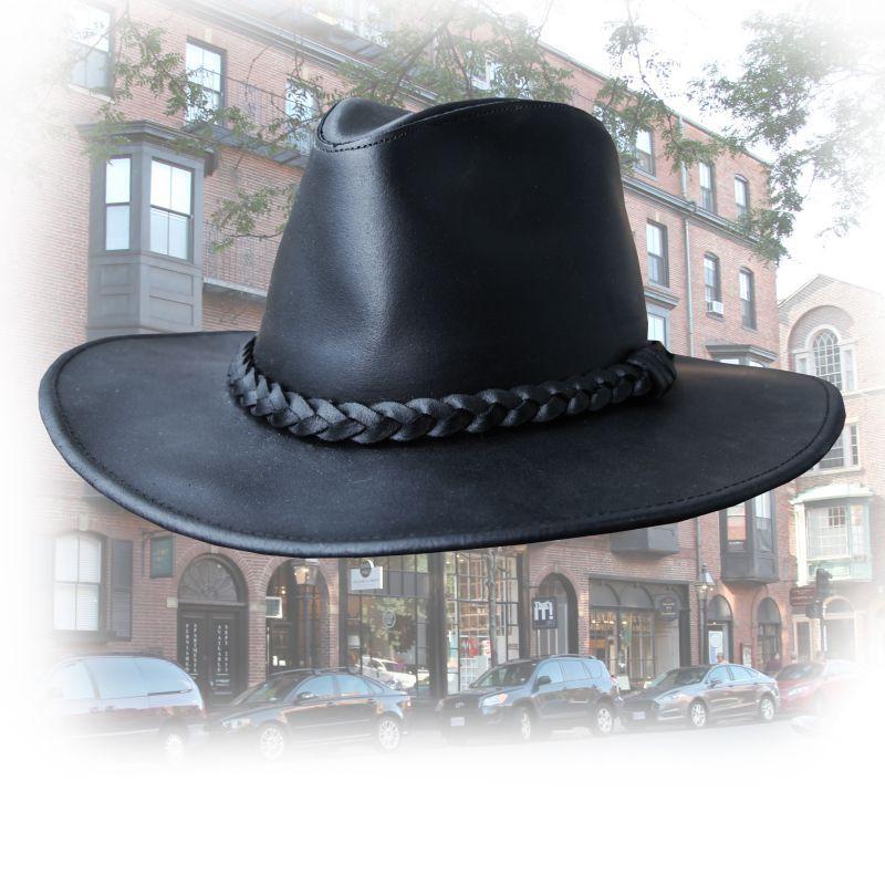 画像1: プレミアム レザー ハット(ブラック)XL/Genuine Leather Hat(Black) (1)
