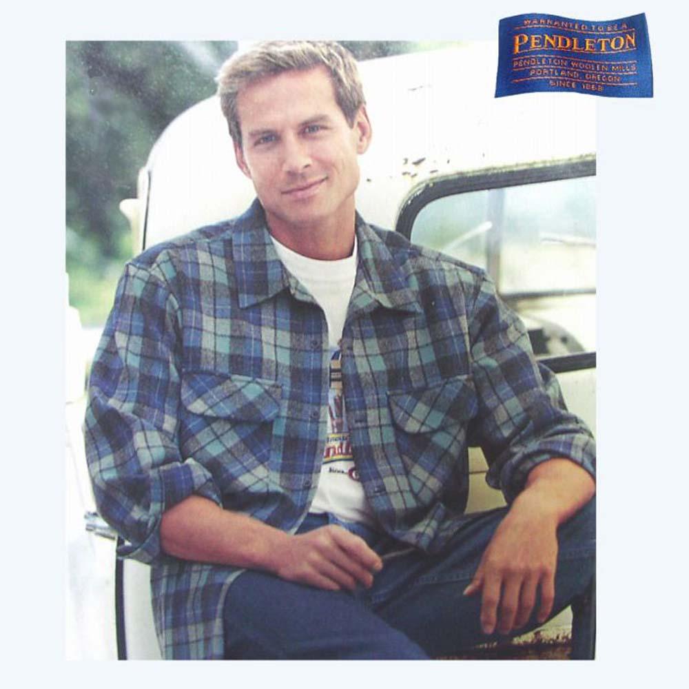 画像1: ペンドルトン ウールシャツ フィッテッド ボードシャツ 1960s オリジナル ビーチボーイズプラッド(ブルー)S/Pendleton Fitted Board Shirt 1960s Original Beach Boys Plaid (1)