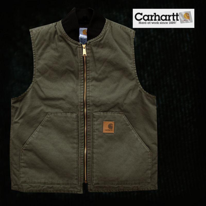 画像1: カーハート ウォッシュド ダック ベスト モスグリーン(12オンス100%コットンダック)/Carhartt Vest(Moss) (1)