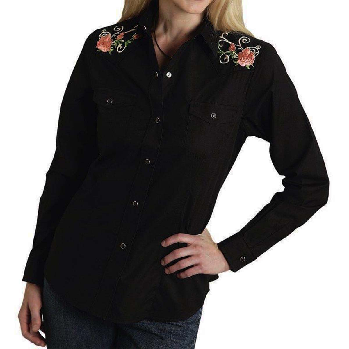 画像1: ローズ 刺繍 ウエスタン シャツ(長袖/ブラック)S/Long Sleeve Western Shirt(Women's)