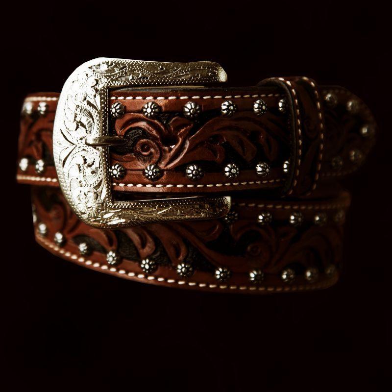 画像1: ハンドクラフト&スタッズ レザー ベルト(アンティークブラウン)/Leather Belt(Antique Brown) (1)