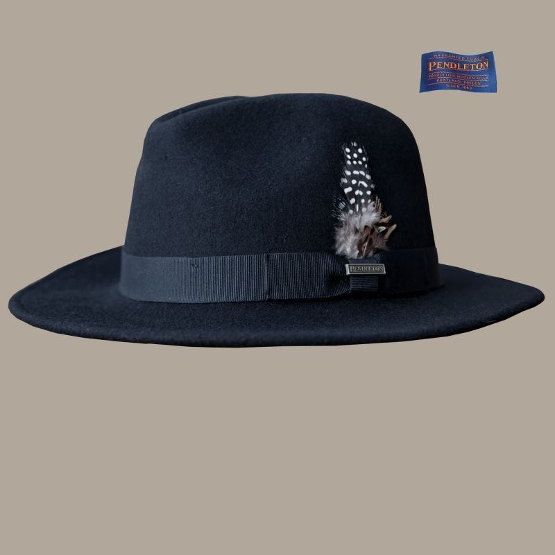 画像1: ペンドルトン ウールハット(ブラック)/Pendleton Genuine Crushable Wool Felt Hat Black (1)