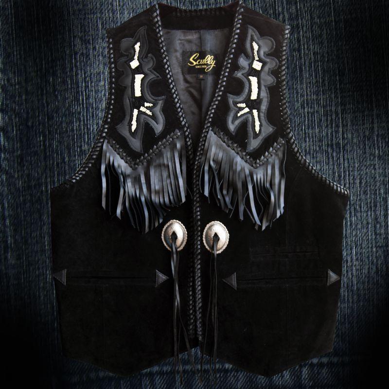 画像1: スカリー ウエスタン レザー フリンジ ベスト(ブラック)/Scully Western Leather Fringe Vest (1)