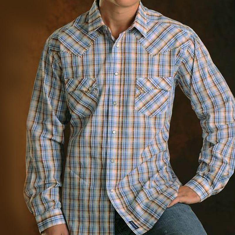 画像1: パンハンドルスリム ラフストック ウエスタンシャツ(ブルー・ブラウン/長袖)/Rough Stock Long Sleeve Western Shirt by Panhandle Slim(Powder Blue) (1)