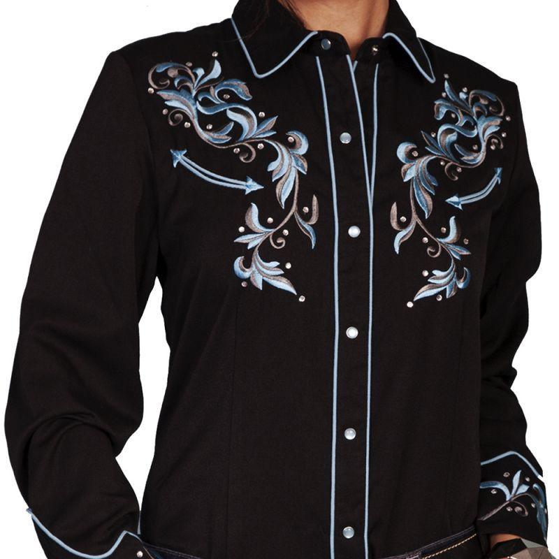 画像1: スカリー ラインストーン・刺繍 ウエスタン シャツ(長袖/ブラック・ブルーフローラル)/Scully Long Sleeve Western Shirt(Women's)