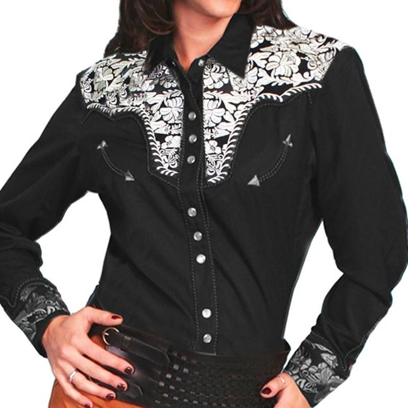 画像1: スカリー 刺繍 ウエスタン シャツ(長袖/ブラック・シルバー)/Scully Long Sleeve Western Shirt(Women's) (1)