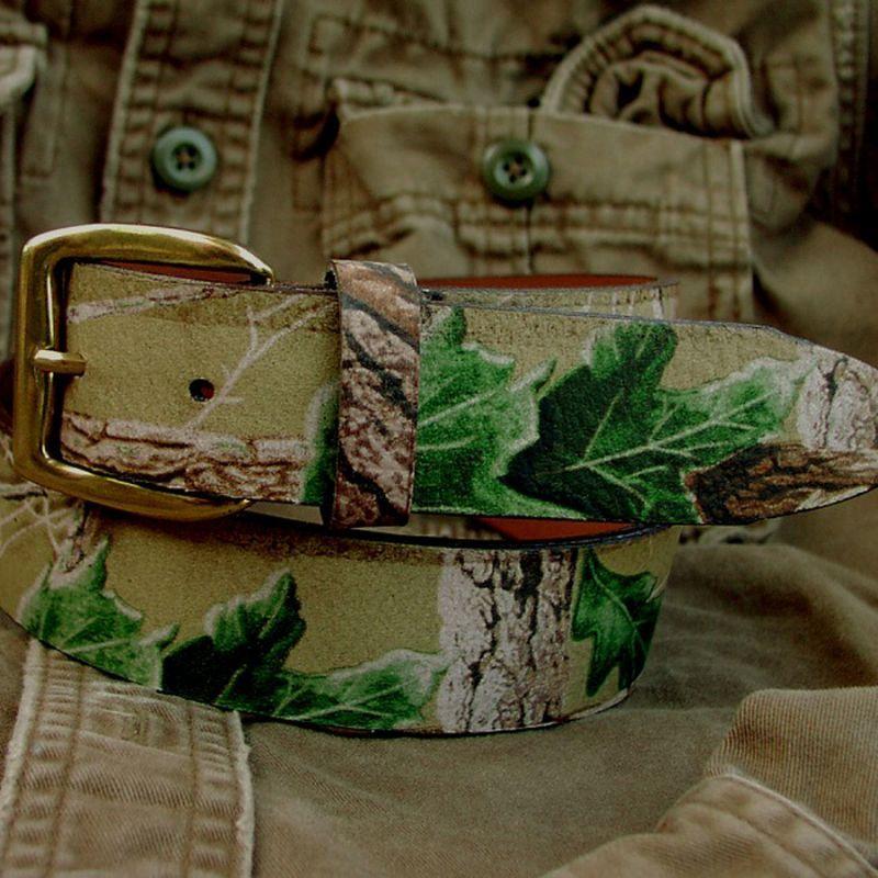 画像1: カモ柄レザーベルト/Camo Design Leather Belt (1)