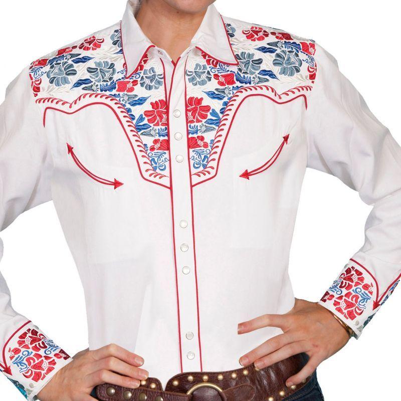 画像1: スカリー 刺繍 ウエスタン シャツ(長袖/ホワイト・フローラルマルチカラー)/Scully Long Sleeve Western Shirt(Women's)