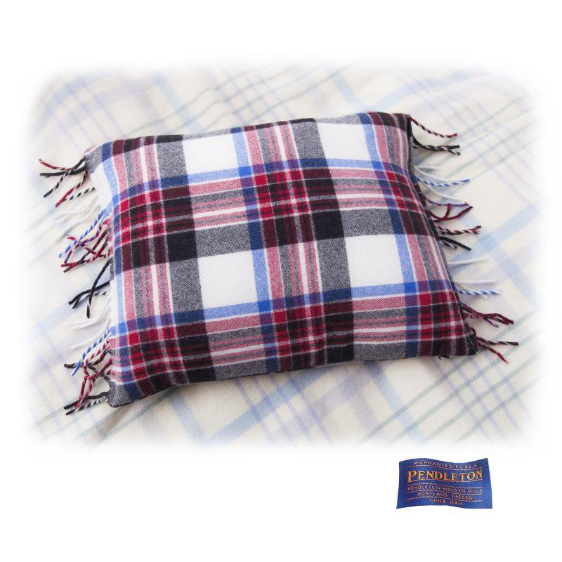 画像1: ペンドルトン フリンジ メリノウール&ダックフェザー ピロー アメリカーナプラッド/Pendleton Pillow(Americana Plaid) (1)