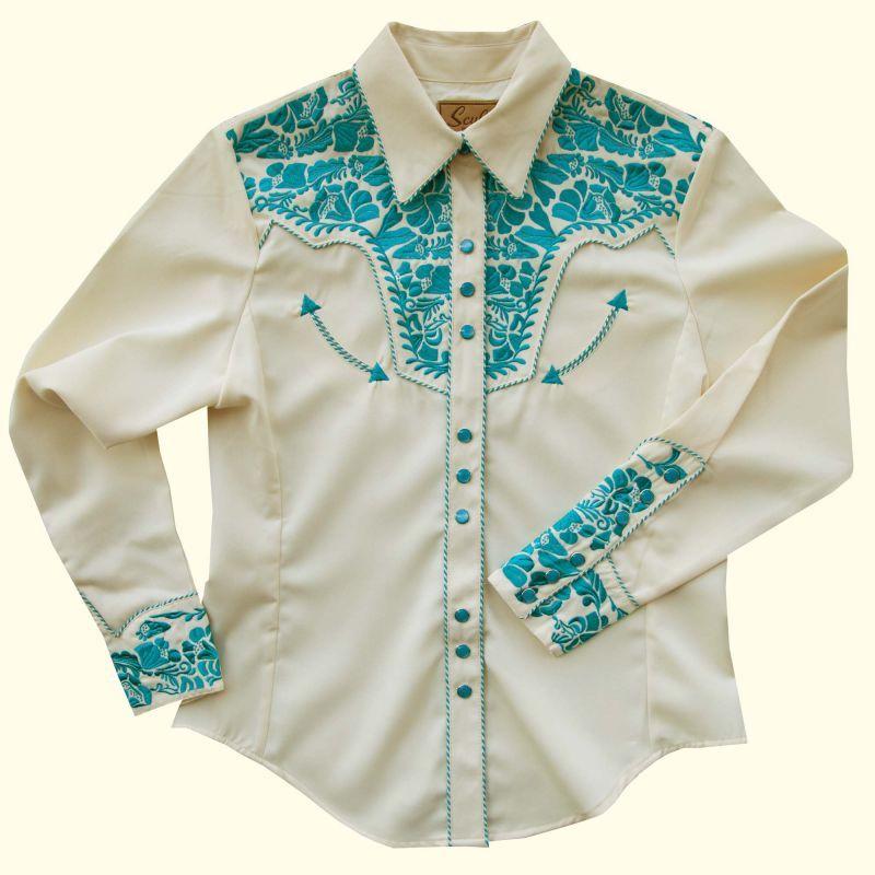 画像1: スカリー 刺繍 ウエスタン シャツ(長袖/クリーム・ターコイズ)/Scully Long Sleeve Western Shirt(Women's)