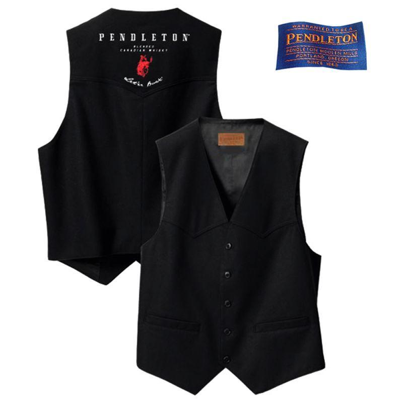 画像1: ペンドルトン ラウンドアップ ウール ウエスタン ベスト(ブラック)S/Pendleton Whisky Logo Wool Vest(Black)