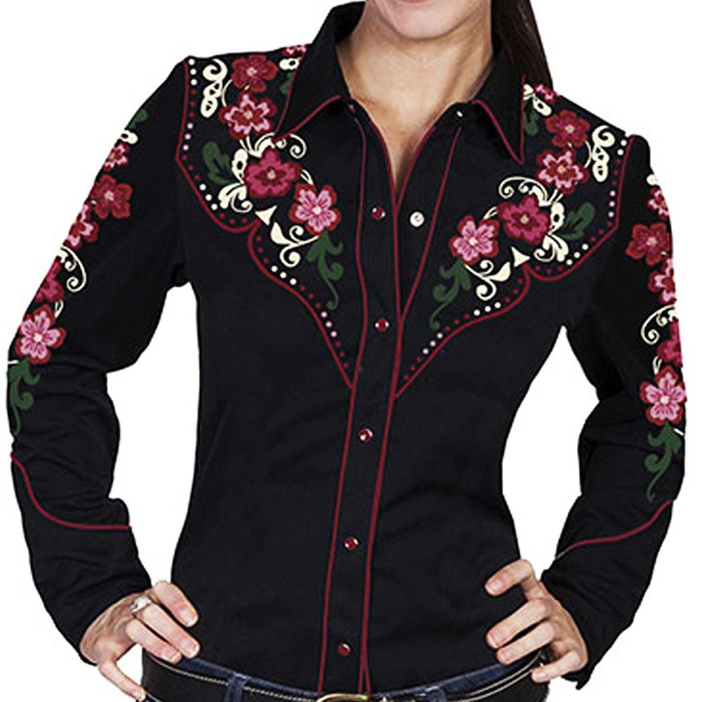 画像1: スカリー 刺繍 フローラル カウガールシャツ(長袖/ブラック)/Scully Long Sleeve Western Shirt(Women's)