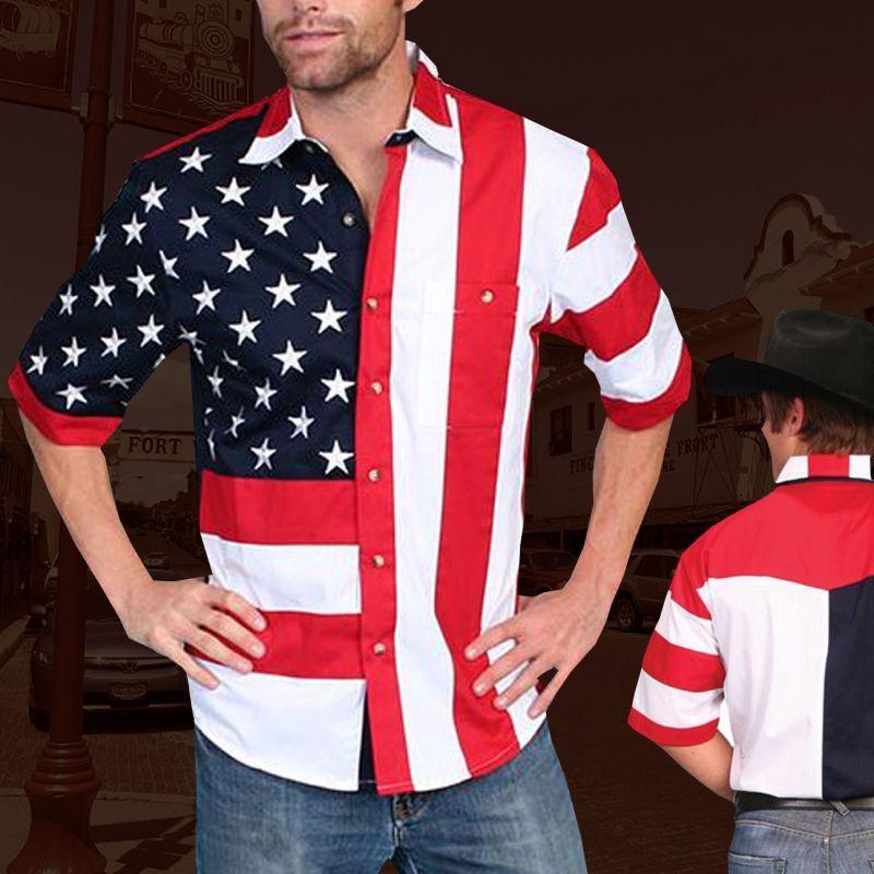 画像1: スカリー 星条旗・アメリカ国旗 シャツ(メンズ 半袖)/Scully Short Sleeve American Flag Shirt