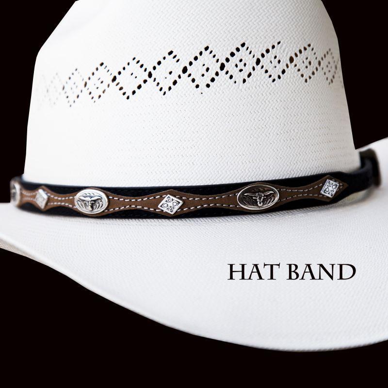 画像1: レザー ハットバンド ロングホーン(ブラック&ブラウン)/Hat Band Longhorn(Black&Brown) (1)