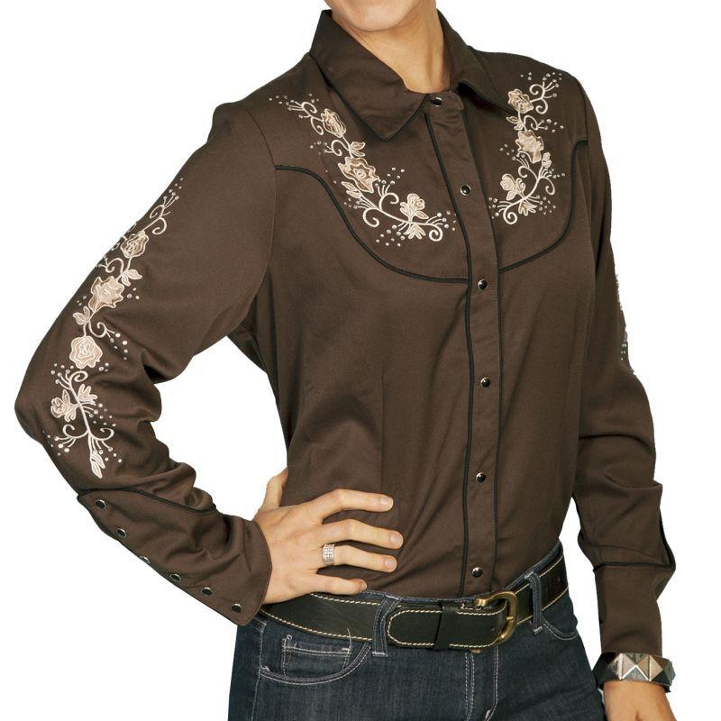 画像1: スカリー ラインストーン・刺繍 ウエスタン シャツ(長袖/ブラウン・フローラル)/Scully Long Sleeve Western Shirt(Women's)