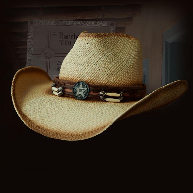 画像1: ハンドウーブン パナマ スターロングホーンコンチョ レザーバンド ストローハット(ナチュラル)/Western Straw Hat