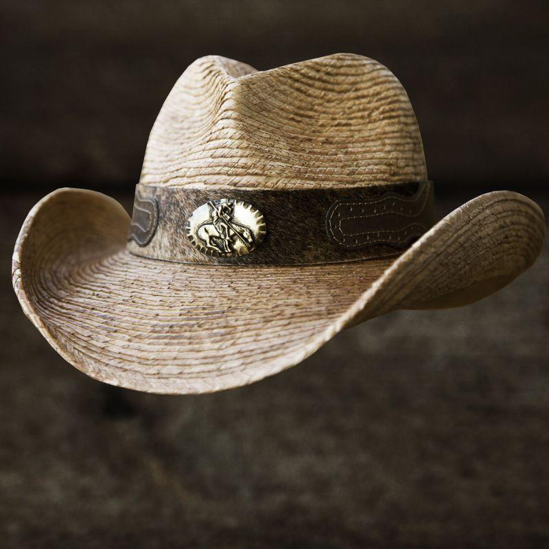 画像1: 馬毛革&牛革 カウボーイ ストローハット(パームファイバー)/Western Straw Hat