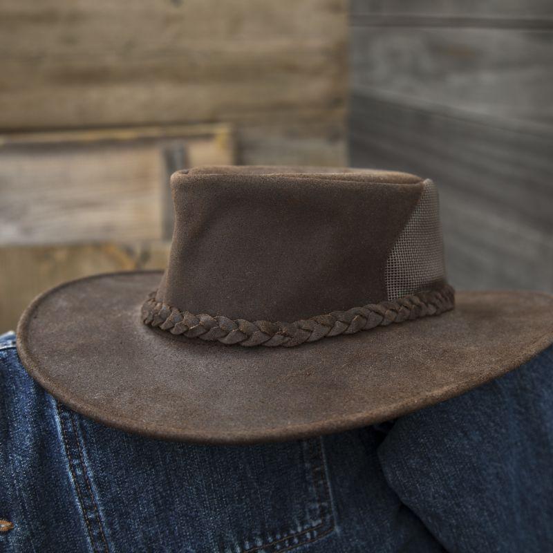 画像1: ワックスレザー&メッシュ クラッシャブル・パッカブルハット(ブラウン)/Leather Hat(Brown) (1)